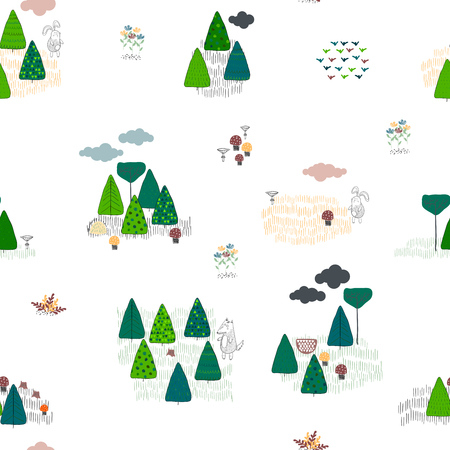 Forest seamless pattern background. Scandinavian style. Vector illustration