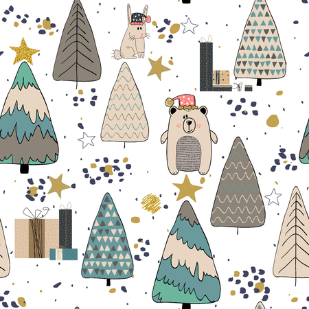 Winter Forest seamless pattern background. Scandinavian style. Vector illustration