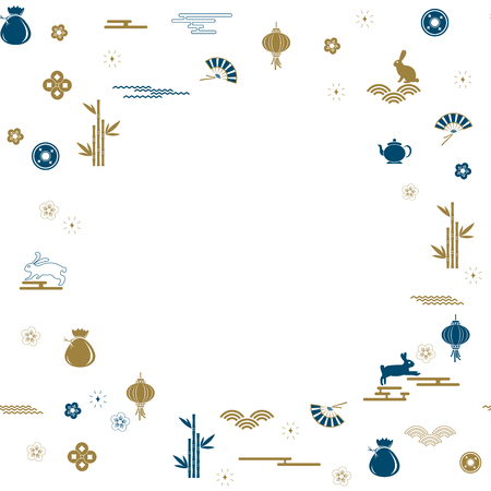 Mid Autumn Festival seamless pattern background with moon rabbit. Vector illustration