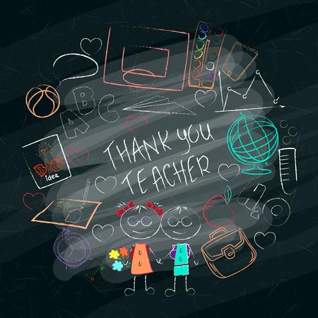 Affiche dessinée à la main de la journée de l'enseignant avec les mots Merci, enseignant. Illustration vectorielle. Vecteurs
