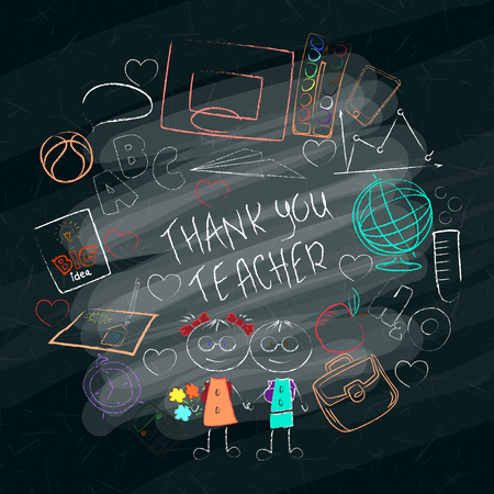 Teacher s day handdrawn poster with the words Thank you teacher. Vector illustration. Vetores