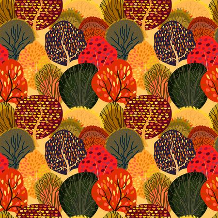 Fond transparent avec des arbres d'automne stylisés. Motif lumineux de la forêt. Illustration vectorielle. Vecteurs