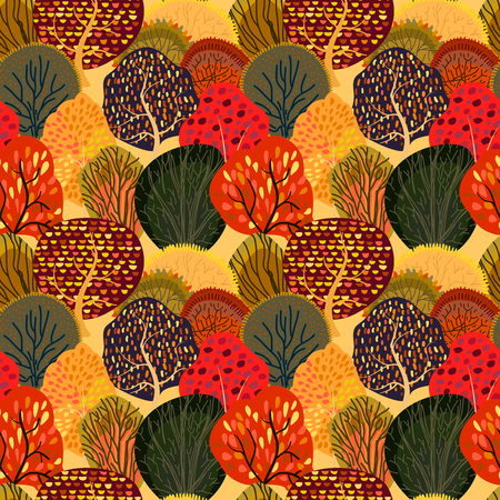 Seamless background with stylized autumn trees. Forest bright pattern. Vector illustration.