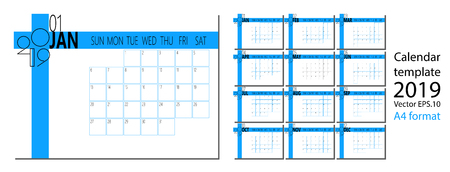 Vector of 2019 new year calendar in clean minimal table simple style and blue color A4 size Vector illustration