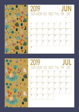 Vector of 2019 new year calendar sheet with forest A4 size Vector illustration