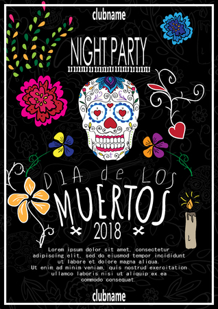 Dia de los muertos. Day of The Dead invitation with skull. Vector illustration