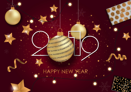 Happy New Year 2019 Card for your design. Vector illustration Çizim