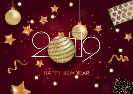 Tarjeta de feliz año nuevo 2019 para su diseño. Ilustración vectorial Foto de archivo - 109777105