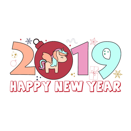 Happy New Year 2019 Card with cute unicorn for your design.