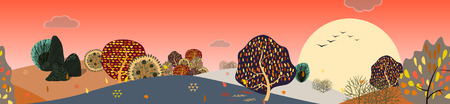 Background with stylized autumn trees. Forest bright landscape. Vector illustration