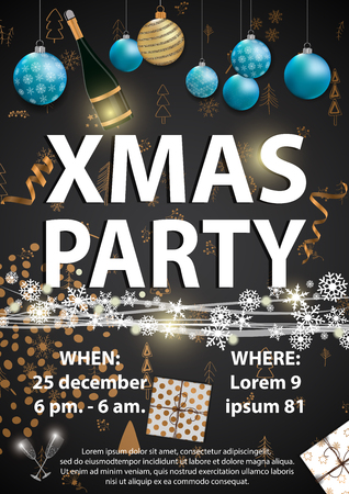 XMAS party invitation card designe with Christmas elements.