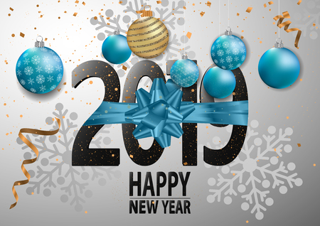 Happy New Year 2019 Card for your design. Vector illustration Stock Illustratie