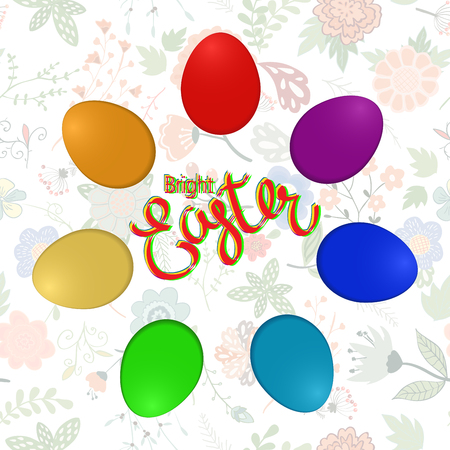 Easter composition with eggs and handdrawn flowers. Vector illustration