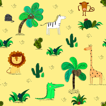 Seamless pattern with cute african animals and tropical plants. Creative jungle childish texture. Illustration