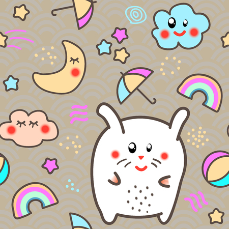 Kawaii style Seamless Pattern Background with cute clouds, stars, rainbow and moon. Vector illustration