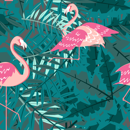 Seamless pattern. Flamingo and a Tropical forest. Textile composition. Vector illustration.