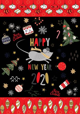 Merry Christmas and a happy new year 2020 card. Stock Vector - 134925225