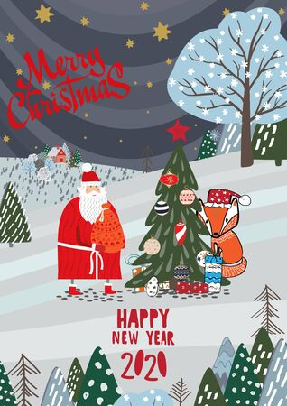 Merry Christmas and a happy new year 2020 card. Stock Vector - 134925228