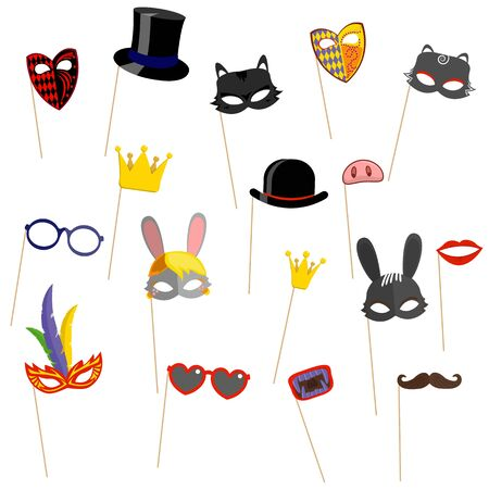 Cartoon colorful carnival or venetian face mask on stick with feathers