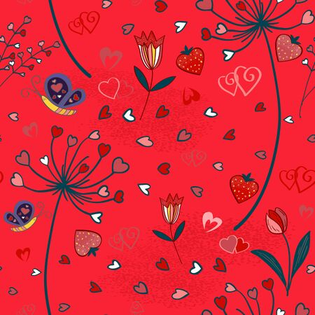 Doodle seamless wallpaper with hand drawn Valentine hearts Ilustracja