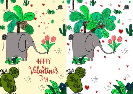 Set of cute Valentine s day greeting backround for flyers, invitation, poster, brochure, banner Vector illustration Ilustracja