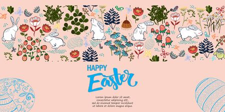 Handdrown Easter background with eggs, chicken, rabbit and flowers. Vector illustration