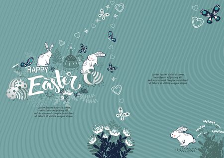 Handdrown Easter background with eggs, rabbit and flowers.