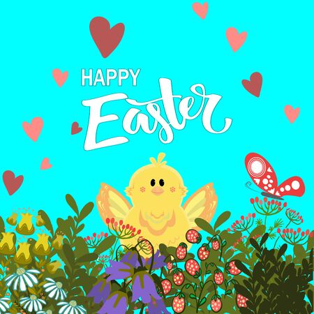 Handdrown Easter background with eggs, chicken and flowers. Vector illustration Illustration