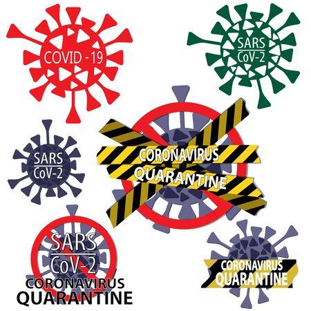 Novel Coronavirus stickers and Coronavirus quarantine warning icons Vector illustration Illustration