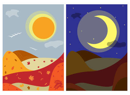 Day and Night autumn landscape background withh hills