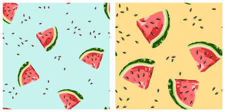 Vector seamless pattern with doodle hand drawn watermelons