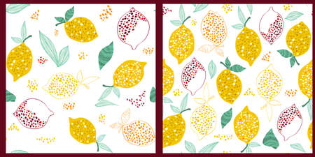 Set of Seamless patterns with lemons on white background