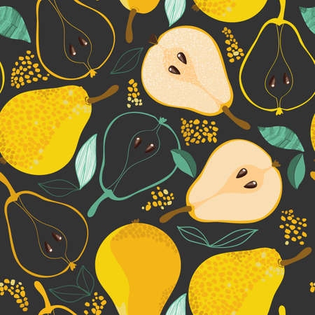 Ripe pears seamless pattern on gray background Illustration
