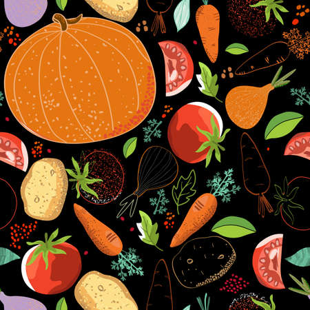 Hand drawn seamless pattern with pumpkins and leaves on the black background Illustration