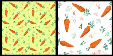 range carrot seamless pattern background with leaves and tops Illustration