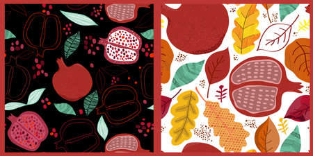 Pomegranates and autumn leaves seamless pattern background