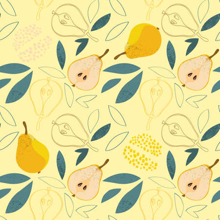 Ripe pears seamless pattern on yellow background