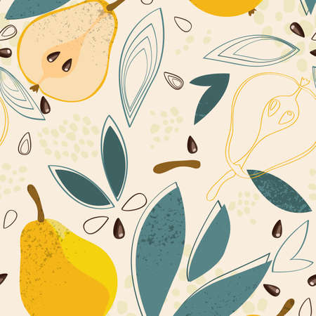 Ripe pears seamless pattern on white background