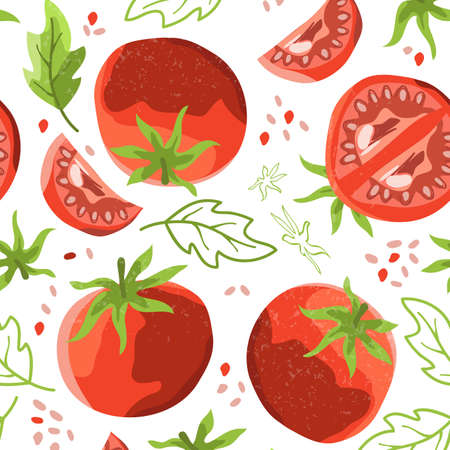 Seamless background with fresh tomatoes Bright juicy vegetables Banque d'images - 155175439