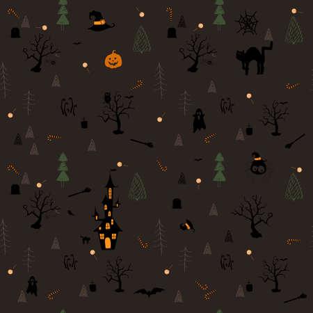 seamless halloween theme pattern on dark background