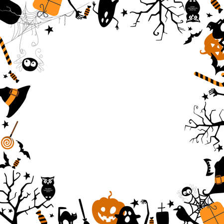 Happy halloween card with space for text on white background