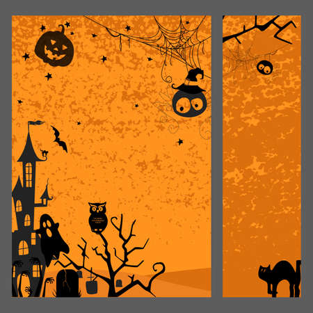 Happy halloween banner. Set of vector design elements. Banque d'images - 155175461