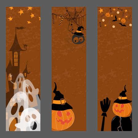 Happy halloween banner. Set of vector design elements. Illustration