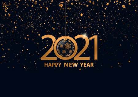 Happy New Year card design with gold confetti and 2021