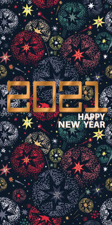 Happy New Year card design with salute and 2021 Illustration