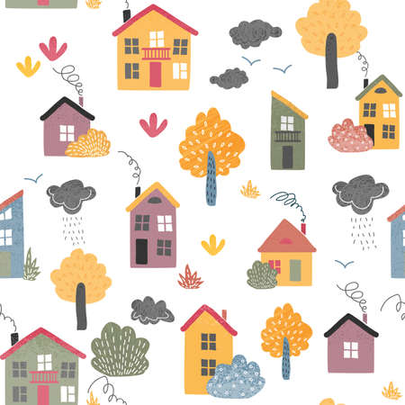 Autumn urban landscape with trees and houses seamless pattern.