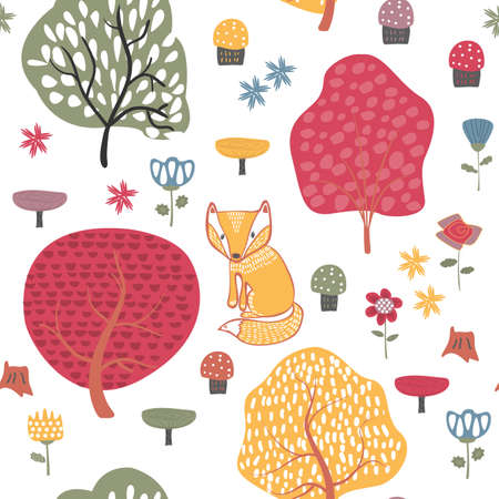 Autumn forest seamless pattern background with autumn trees Illustration