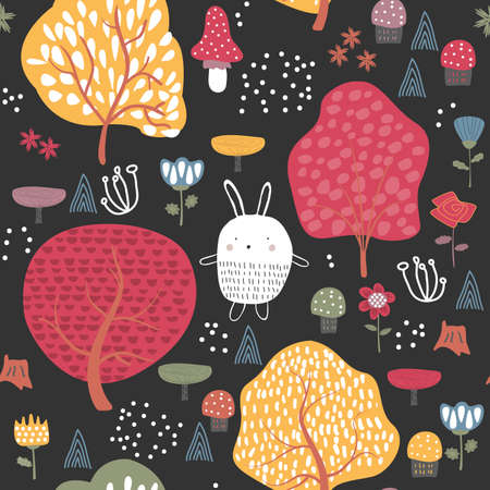 Autumn forest seamless pattern background with autumn trees Banque d'images - 156576106