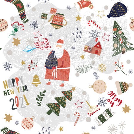 Merry Christmas and Happy New Year 2021 seamless pattern background Banque d'images - 157608143