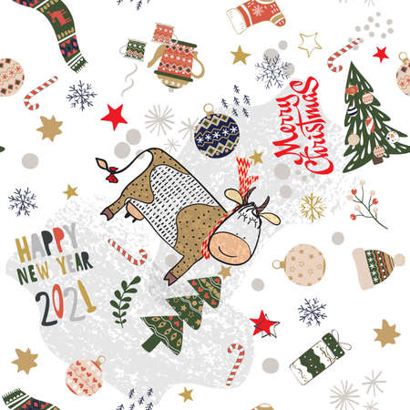 Merry Christmas and Happy New Year 2021 seamless pattern background